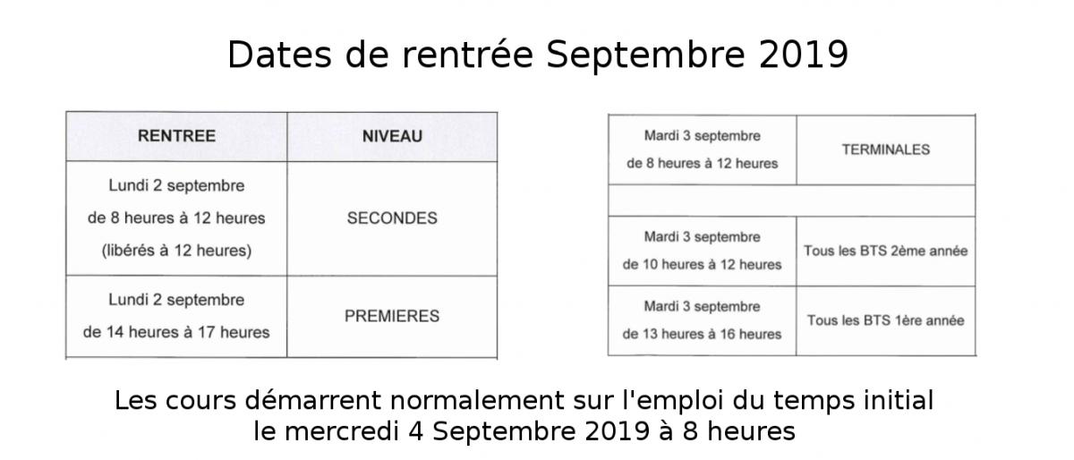 Permalien vers:Dates de rentrée 2019